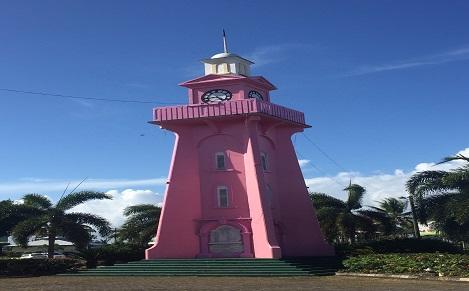 サモアのタウンがピンク色